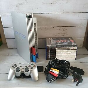 Sony PlayStation 2  Silver Console bundle, 1 controllers, 7 games, TESTED PS2