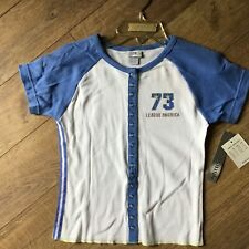 NWT Kru Active Size 7/8 7 8 Girls White Blue Short Sleeve Snap Front Shirt Top
