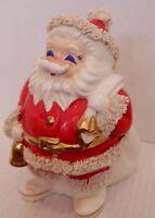 Vtg 50s 60s Ceramic Santa Claus Programs Coin Bank Spaghetti Trim Made in Japan