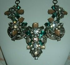 Brass-Tone Dusty Pink Green Clear Joan Rivers Necklace Absolutely Gorgeous Huge