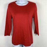 Jones New York Sport Womens Top Sz S Red Long Sleeve Crew Neck T Shirt  RR32