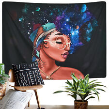 African Women Tapestry Wall Hanging Galaxy Girl Retro Glasses Tapestry Decor