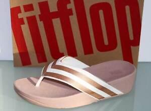FITFLOP Sandale Wedges MILLIE METALLIC STRIPE White/Rosegold - Neu! Gr. 39