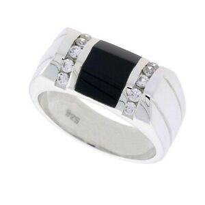 Sterling Silver Gents' Black Onyx Ring w/ 2 Grooves At each Side & 10 CZ Stones