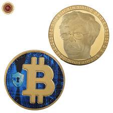 WR Pièce commémorative en or 24 carats plaquée or Bitcoin physique BTC