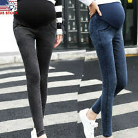 Women Maternity Pants Pregnant Skinny Jeans Over Pants Elastic Stretch Trousers