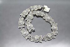Silver Bracelet 7.5'' Splendid Flowers Marcasite Sterling