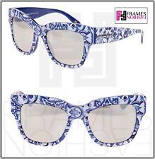 DOLCE & GABBANA MAJOLIKA Blue White Print 4231 Mirrored Sunglasses DG4231