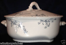 JOHNSON BROTHERS ROSEDALE TUREEN & LID BLUE GREY FLORAL & LEAVES