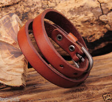 Hot Classic Cool Single Band Double Wrap Surfer Leather Bracelet Wristband Cuff