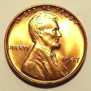 """1947-P Lincoln Wheat 1c""""Original Golden Mint Luster""""GEM BU/RD from OBWR.FREE S&H"""