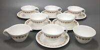 14PCS Corelle Corning BUTTERFLY GOLD Tea Cups/Saucers w Creamer Sugar Bowl #1 AA