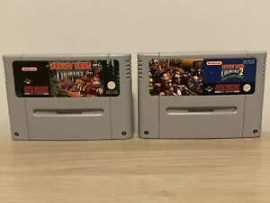 Donkey Kong Country 1 & 2 SNES Cartridge Only - Tested Work