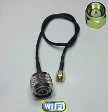 RG174 LOW LOSS COAX CABLE SMA MALE TO N TYPE M/F STRAIGHT ANGLE 2-14 INCHES US