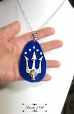 Poseidon Trident Leather Blue Pendant and Chain Percy Jackson