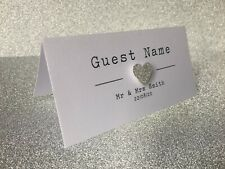 Glitter Heart Personalised Wedding Place Cards with guest names. Rosie range