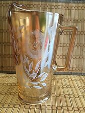 Vintage Collectibles Amber Drinking Pitcher One Liter Floral Design