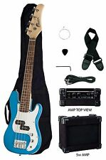 """RAPTOR 38"""" Kid's Junior Electric P Bass Package - BLUE w/ Amp Bag Cable Pick"""