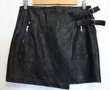 ARMANI EXCHANGE  ~ Black Rock Chick Faux Leather Mini Skirt w Buckles NWT 6 8