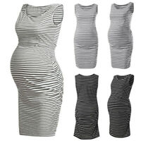 Women's Stripe Maternity Sleeveless Dresses Baby Pregnancy Maternity Tank Dress