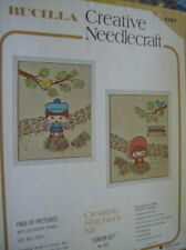 Bucilla Junior Set Crewel Embroidery Kit 2 Designs-9x11 Inches + Frames Boy/Girl