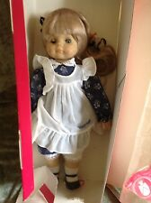"Engel-Puppen Germany Porcelain Doll 17"" Tall Blue/White Dress Blond Hair"