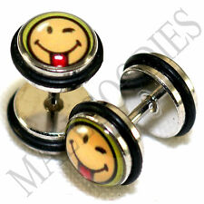 16G Wicked Funny Smiley Face 0G 8mm 0163 Fake Cheaters Faux Illusion Ear Plugs