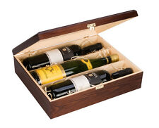 Triple Bottle, Wooden Luxury Gift Box for Wine, Champagne or Whisky (Brown)