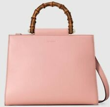 Gucci Nymphaea Leather Top Medium Bamboo Hand Bag NWT *Authentic*