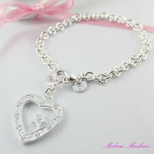 SP Cubic Zirconia Star in Heart Chain Charm Bracelet with Lobster Clasp 21cm