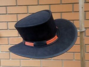 BLACK SUEDE LEATHER NEW CLINT EASTWOOD PALE RIDER STYLE HAT W. TWO-TONE HATBAND
