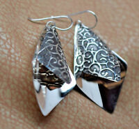 Two Layer Drop Dangle Handcrafted 925 Sterling Silver Earrings Oxidized & Scroll