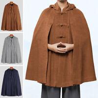 Men's Loose Fleece Poncho Winter Warm Coat Jacket Long Cloak Cape Parka Outwear