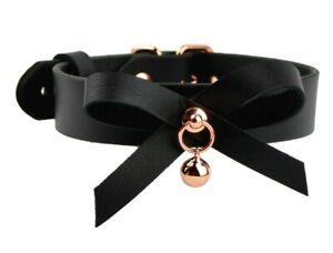 AURUM Stunning Rose Gold Black leather Handcrafted Kitten Bow & Bell Collar C25B