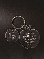 """Personalised Apple Keyring Teacher Gift """"Thank you for helping me grow"""""""