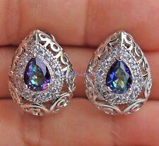 18K White Gold Filled - Blue MYSTICAL Rainbow Oval Topaz Hollow Vine Earrings