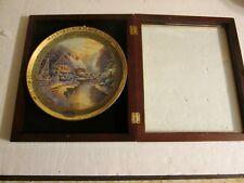 Thomas Kinkade 2007 Christmas Evening Plate in wood Display frame #1240A