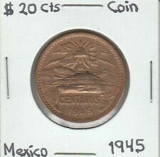 Mexico: $ 20 Centavos Coin Year 1945.
