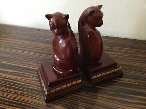 CERAMIC CAT BOOKENDS Wood effect