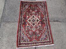 VECCHIO Fatto a Mano Tradizionale Tappeti Persiani Orientale Lana Tappeto Piccolo Rosso 85x55cm