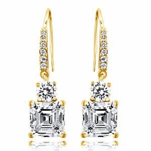 5 Ct Asscher-Cut Simulated Diamond Dangle Earrings 14K Gold Over Sterling Silver