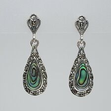 Marcasite Earrings Vintage Style Sterling Silver Abalone Shell Teardrop Dangle