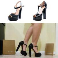 Women Ankle Strap Peep Toe Platform Block High Heel Square Toe T-Strap Sandals