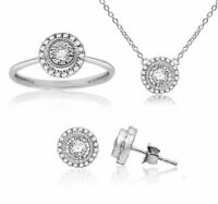 1/2 ct Round Real Diamond Ring Earrings Pendant set 925 Sterling Silver