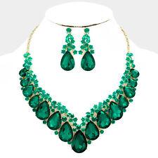 Lush Oro Vivace Smeraldo Cristallo Goccia Cocktail Collana Set ROCCE Boutique