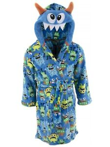 Only Boys Robe Blue Monster Plush Fleece Character Hooded Bathrobe