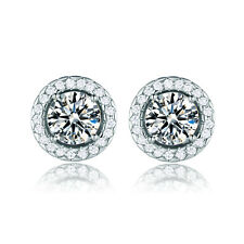 Cute 18K White Gold Filled Round Rhinestone Sapphire Girls Stud Earrings Journey