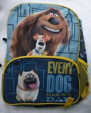 Universal Secret Life of Pets School Back Pack New W/ Tags Every Dog Has His Day