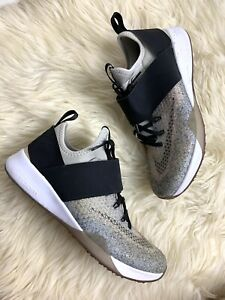 Nike Zoom Training Women Shoes Sneakers Strap sz 38/US7 Grey Black Running Comfy