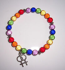 Pack of 2 x 8mm Miracle Bead Bracelets Double Venus Symbol - Lesbian Rainbow